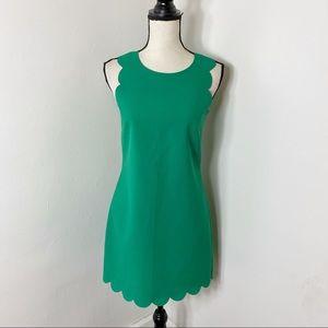 J. Crew Green Scalloped Hem Sleeveless Dress 0